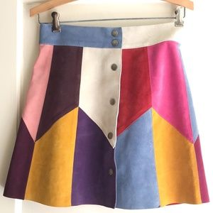 Marc Jacobs Leather Color-Block Mini Skirt